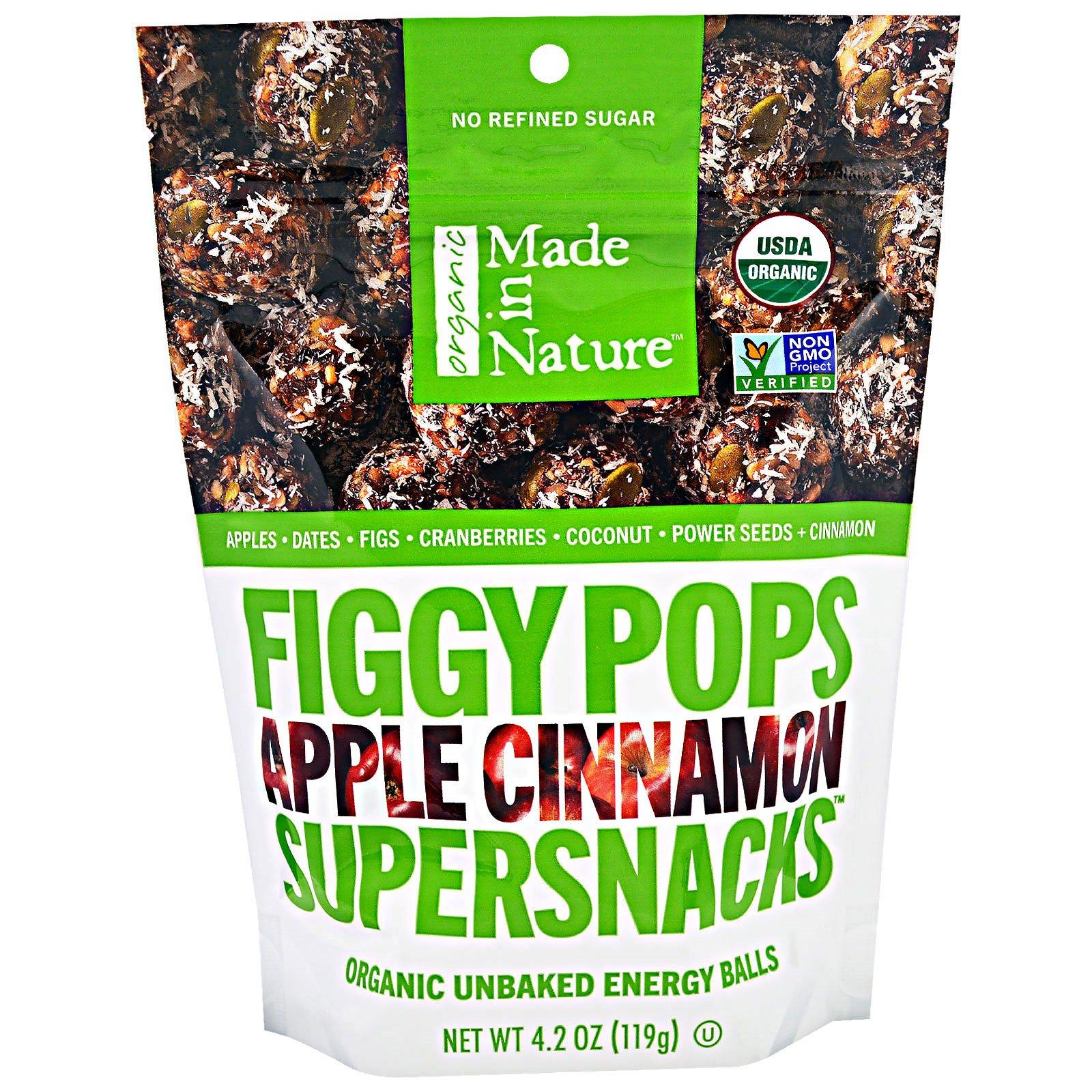 """Made in Nature, """"Инжирные суперснэки"""", органические инжирные снэки со вкусом яблока и корицы, 4,2 унции (119 г)"""