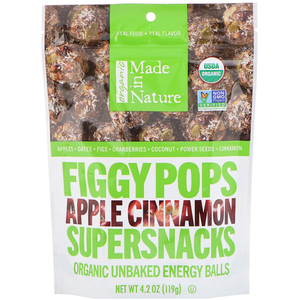 Made in Nature, Organic Figgy Pops, Apple Cinnamon Supersnacks, 4.2 oz (119 g) (Discontinued Item)