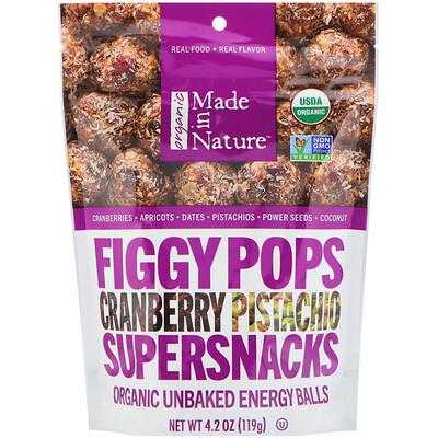 Купить Made in Nature Инжирные суперснэки, органические инжирные снэки со вкусом клюквы и фисташки, 4, 2 унции (119 г)