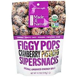 Made in Nature, Organic Figgy Pops, Supersnacks, Cranberry Pistachio, 4.2 oz (119 g)
