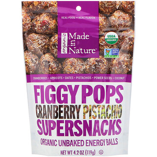 Made in Nature, Organic Figgy Pops, Cranberry Pistachio Supersnacks, 4.2 oz (119 g)