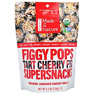 Made in Nature, Organic Figgy Pops, Supersnacks, Tart Cherry Fig, 4.2 oz (119 g)