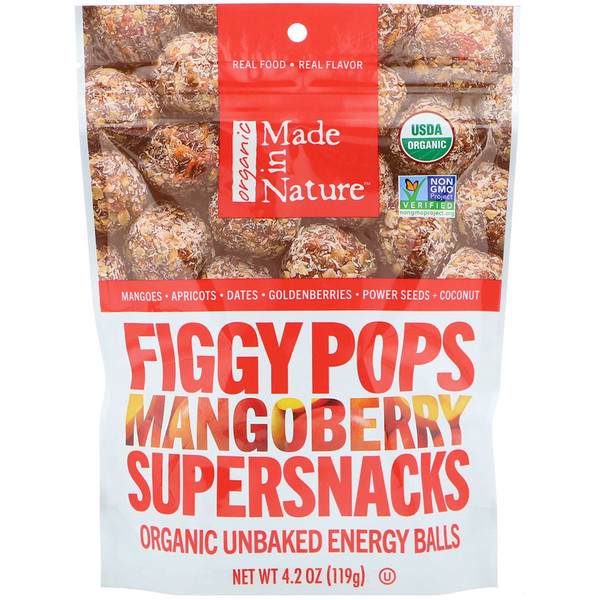 Made in Nature, Organic Figgy Pops, Mangoberry Supersnacks, 4.2 oz (119 g) (Discontinued Item)
