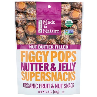 Made in Nature, Organic Figgy Pops, Nutter & Jelly Supersnacks, 3.8 oz (108 g)