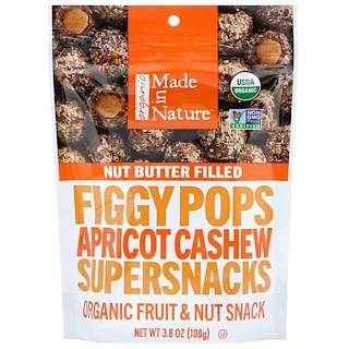 Made in Nature, Organic Figgy Pops, Apricot Cashew Supersnacks, 3.8 oz (108 g)