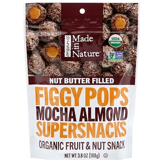 Made in Nature, Organic, Figgy Pops, Supersnacks, Mocha Almond, 3.8 oz (108 g)