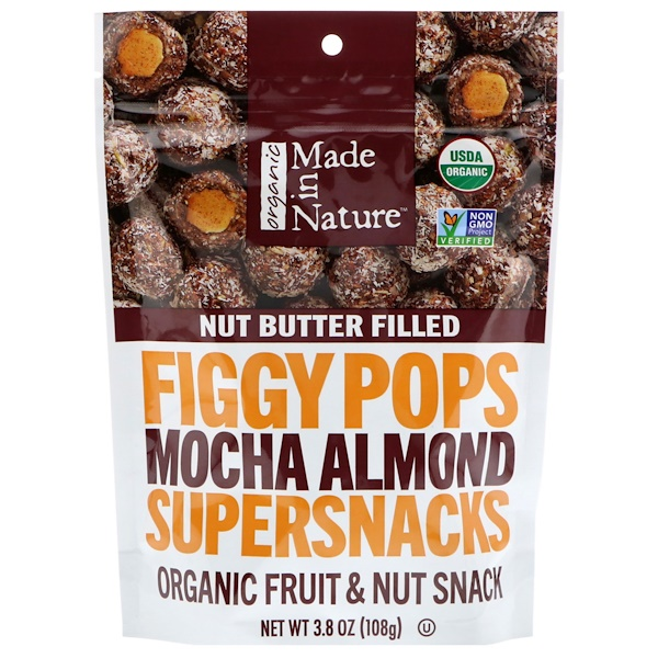 Made in Nature, Orgánico, bolitas de higo, súperaperitivo, almendra moca, 3.8 oz (108 g) (Discontinued Item)