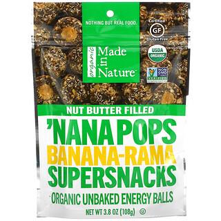 Made in Nature, Organic 'Nana Pops, Banana-Rama Supersnacks, Nut Butter Filled, 3.8 oz (108 g)