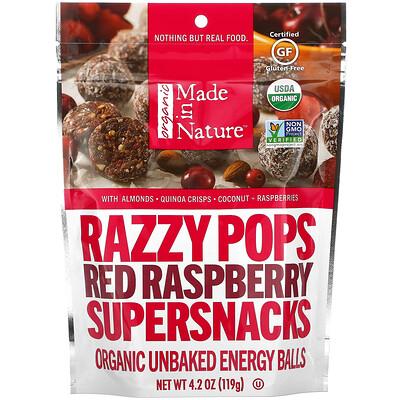 Купить Made in Nature Razzy Pops, Red Raspberry Supersnacks, 4.2 oz (119 g)