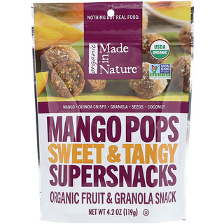Made in Nature, Organic Mango Pops, Sweet & Tangy Supersnacks, 4.2 oz (119 g)