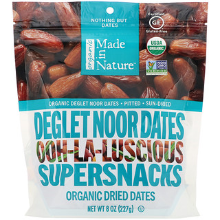 Made in Nature, Organic Dried Deglet Noor Dates, Ooh-La-Luscious Supernacks, 8 oz (227 g)