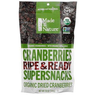 Made in Nature, Organic Dried Cranberries, Ripe & Ready Supersnacks, 13 oz (368 g)