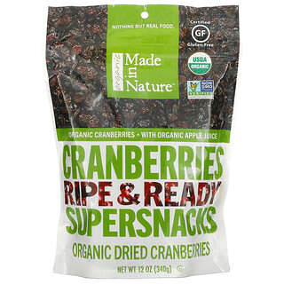 Made in Nature, Organic Dried Cranberries, Ripe & Ready Supersnacks, 12 oz (340 g)