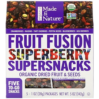 Made in Nature, Organic Fruit Fusion, Superberry Supersnacks, 5 Packages, 1 oz (28 g) Each