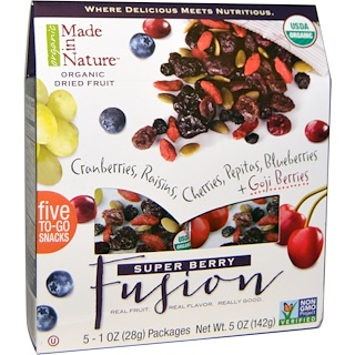 Made in Nature, Organic Dried Fruit, Super Berry Fusion, 5 Packages, 1 oz (28 g) Each
