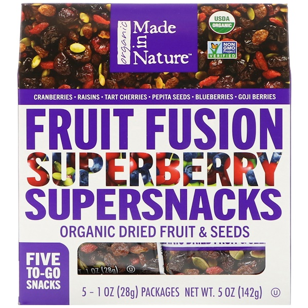 Made in Nature, Organic Fruit Fusion, Superberry Supersnacks, 5 Packages, 1 oz (28 g) Each (Discontinued Item)