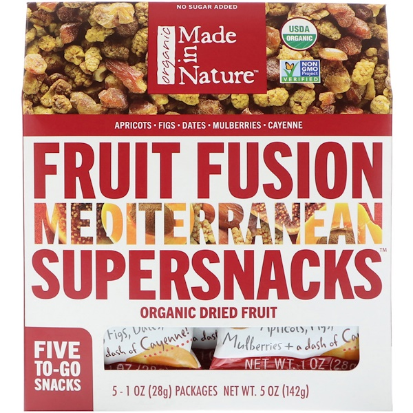 Made in Nature, Organic Fruit Fusion, Mediterranean Supersnacks, 5 Packages, 1 oz (28 g) Each (Discontinued Item)