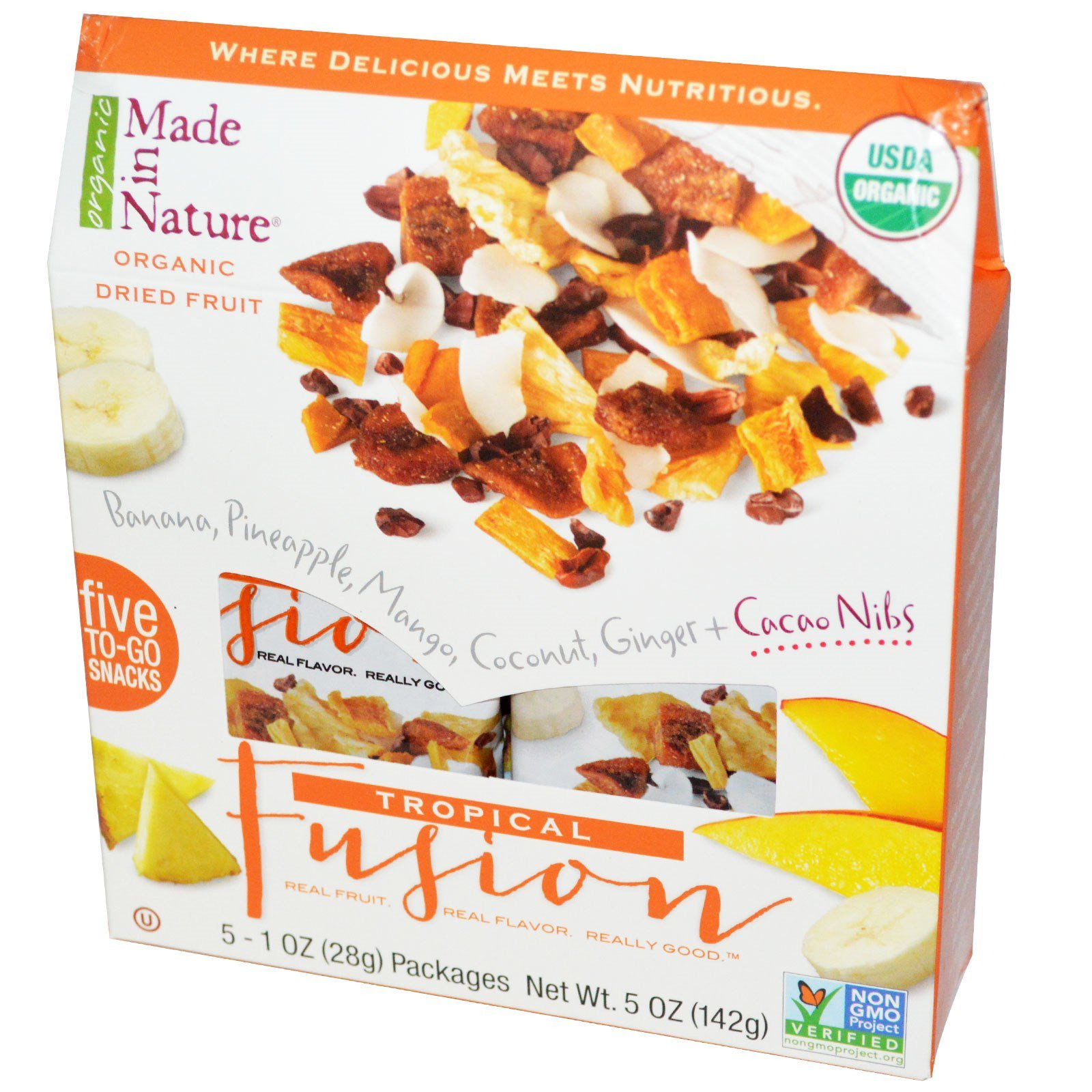 Made in Nature, Organic Dried Fruit, Tropical Fusion, 5 упаковок, 28 г каждая