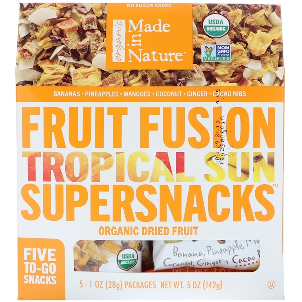 Made in Nature, Organic Fruit Fusion, Tropical Sun Supersnacks, 5 Packages, 1 oz (28 g) Each (Discontinued Item)