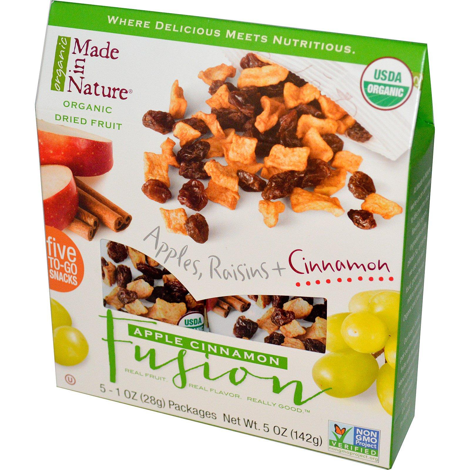 Made in Nature, Органические сушеные фрукты, смесь яблока и корицы, 5 пакетов, 28 г (1 унция) каждый