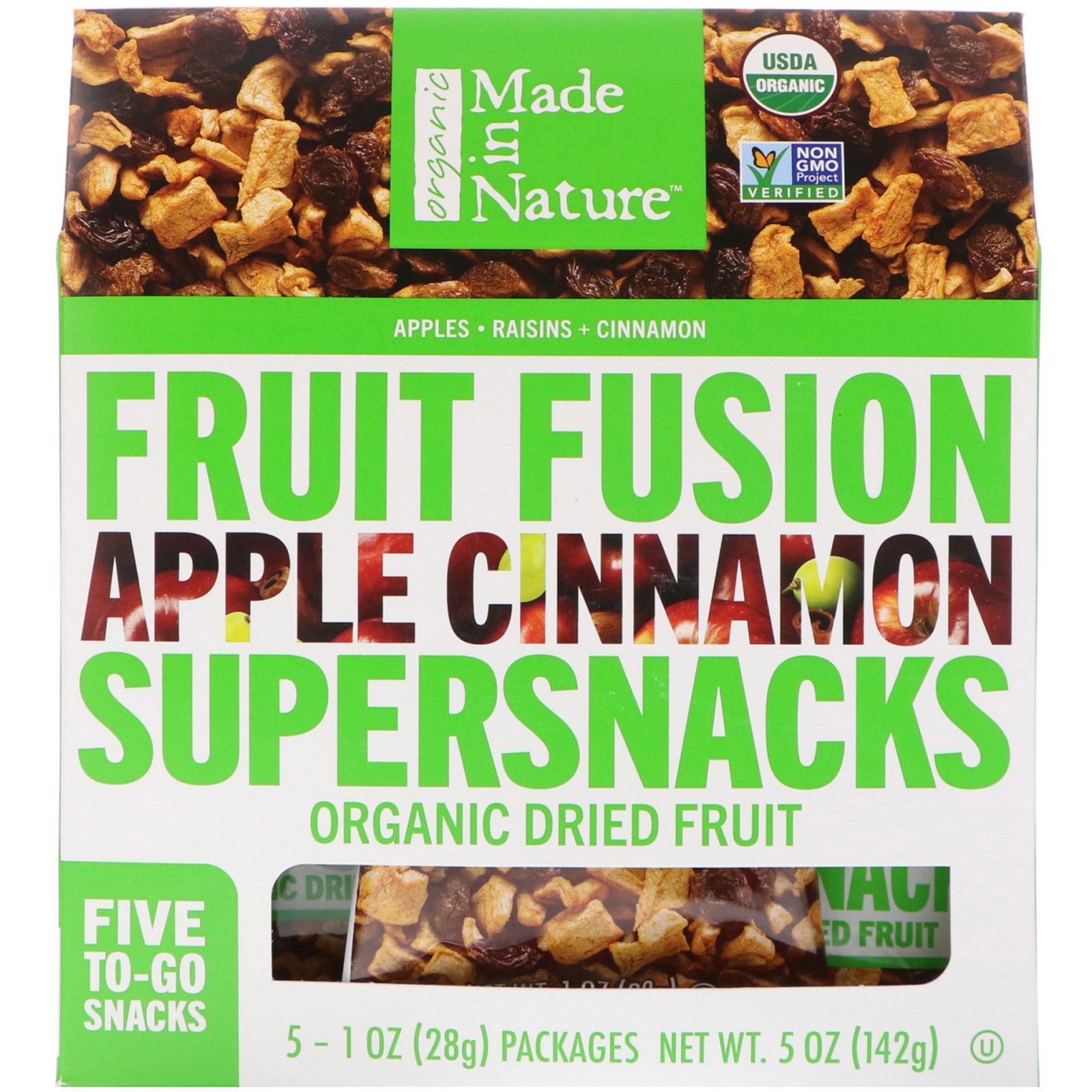 a0aa0ac18c1 Made in Nature, Organic Fruit Fusion, Apple Cinnamon Supersnacks, 5  Packages, 1