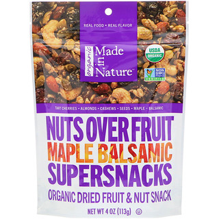 Made in Nature, オーガニック、ナッツ オーバー フルーツ スーパースナックス、メープル・バルサミコ、4 oz (113 g)