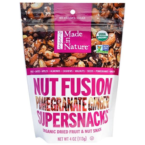 Made in Nature, オーガニックナッツフュージョン・スーパースナック、 ザクロ  ジンジャー、 4 オンス (113 g)
