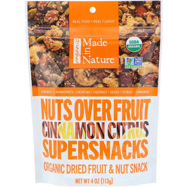 Made in Nature, Organic Nuts Over Fruit, Cinnamon Citrus Supersnacks, 4 oz (113 g) (Discontinued Item)