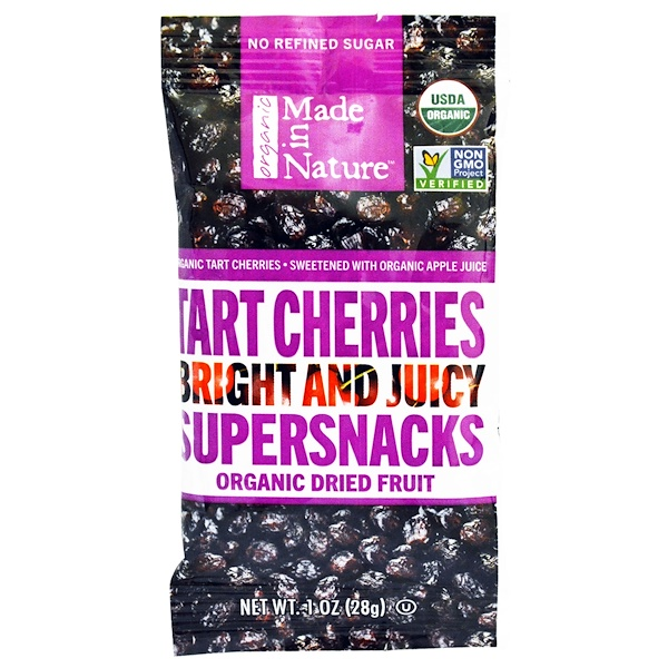 Made in Nature, Organic Tart Cherries Bright and Juicy Supersnacks, 1 oz (28 g) (Discontinued Item)