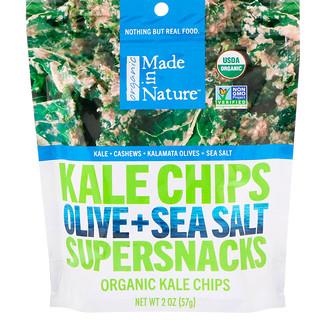 Made in Nature, オーガニック・ケールチップス、オリーブ+海塩スーパースナック、2オンス (57g)