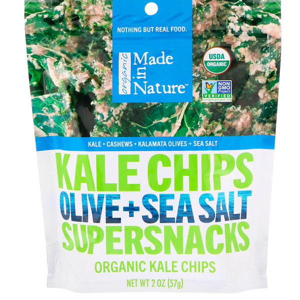 Made in Nature, Organic Kale Chips, Olive + Sea Salt Supersnacks, 2 oz (57 g) (Discontinued Item)