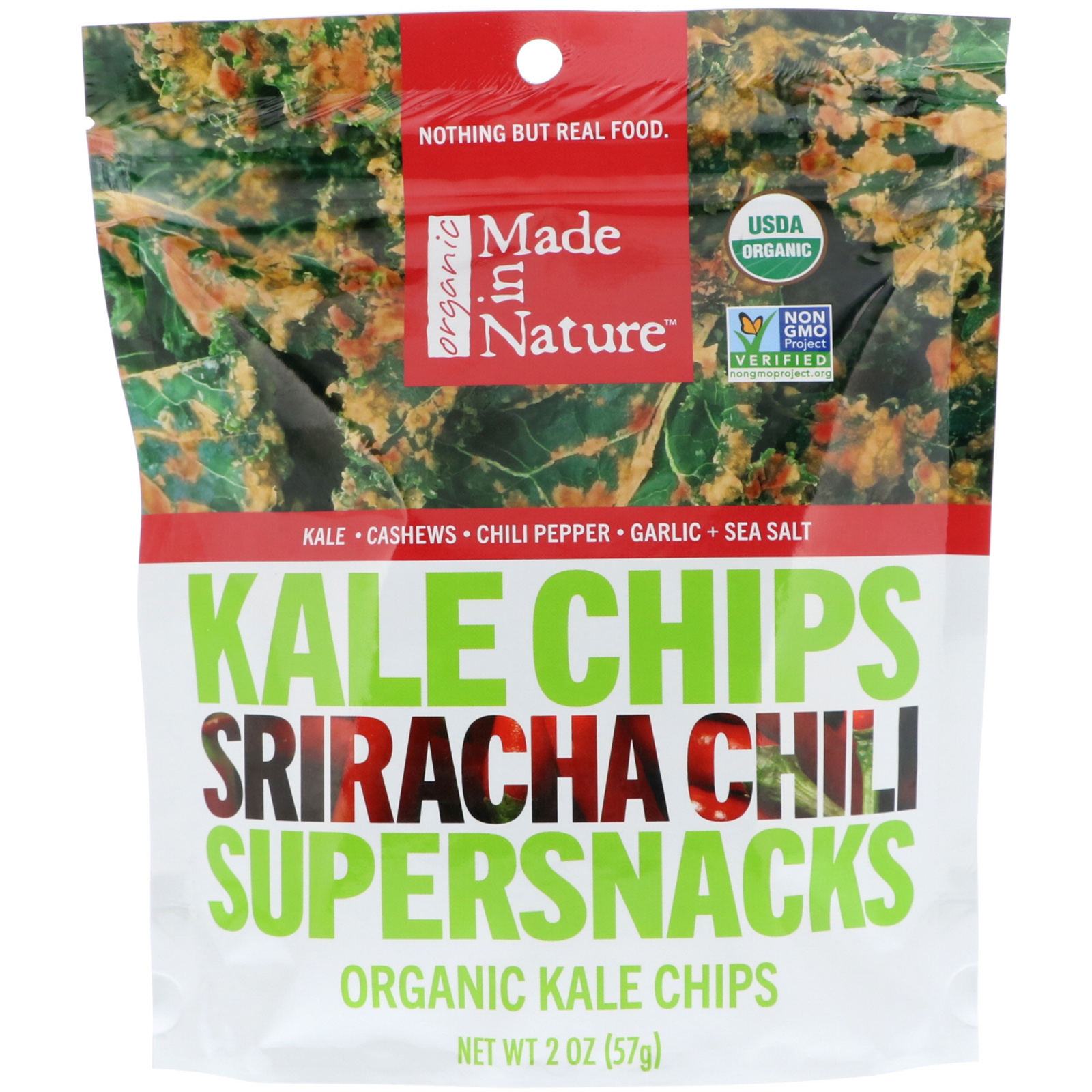 Made in Nature, Organic Kale Chips, Sriracha Chili Supersnacks, 2 oz (57 g)  (Discontinued Item)
