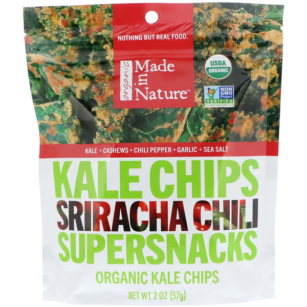 Made in Nature, Organic Kale Chips, Sriracha Chili Supersnacks, 2 oz (57 g)