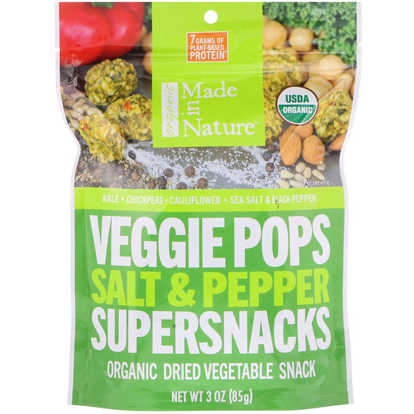 Made in Nature, Bolitas vegetarianas orgánicas, superbocadillos de sal y pimienta, 3 oz (85 g)