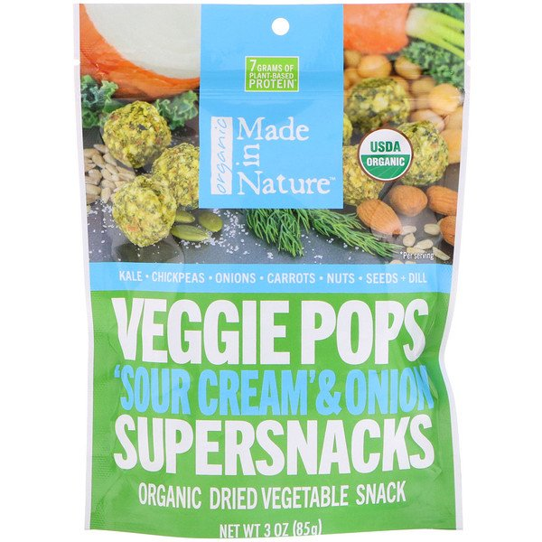 "Made in Nature, Organic Veggie Pops، ""قشطة حامضة"" وبصل سوبرسناكس، 3 أوقية (85 جم)"