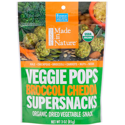 Купить Made in Nature Органические овощные снеки, брокколи и сыр чеддер, 3 унц. (85 г)