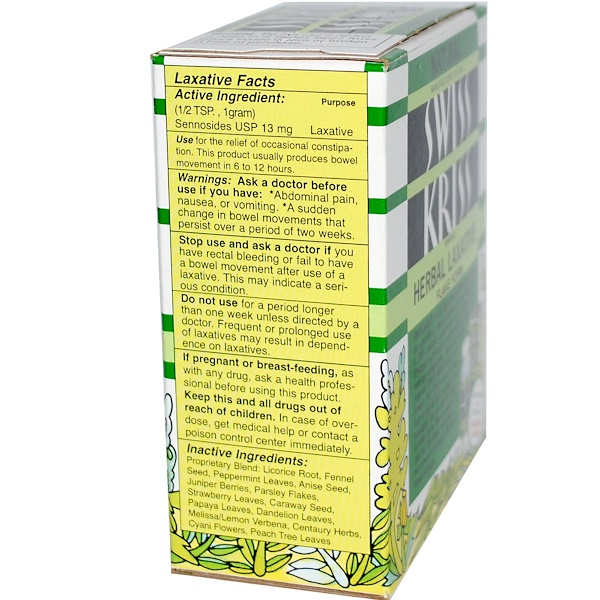 Modern Products, Swiss Kriss Herbal Laxative, Flake Form, 3-1/4 oz (92 g) (Discontinued Item)