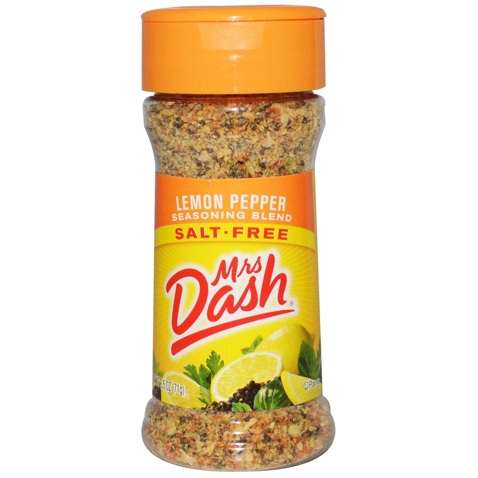 Mrs. Dash, Смесь приправ с перцем и цедрой лимона, 2,5 унции (71 г)