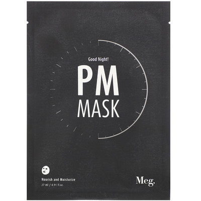 Meg Cosmetics Good Night PM Mask, 1 Sheet, 0.91 fl oz (27 ml)