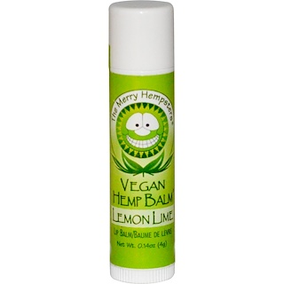 Merry Hempsters, Bálsamo de cáñamo vegano, bálsamo para los labios, Lima-limón, 0.14 oz (4 g)