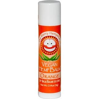 Merry Hempsters, Bálsamo labial vegano, Bálsamo de naranja, 0.14 oz (4 g)