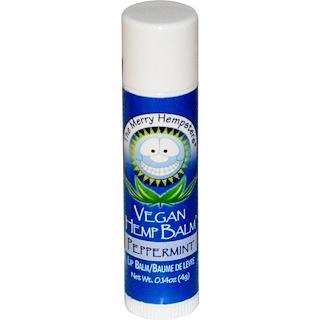 Merry Hempsters, Bálsamo de cáñamo vegano, bálsamo para los labios, hierbabuena 0,14 onzas (4 g)