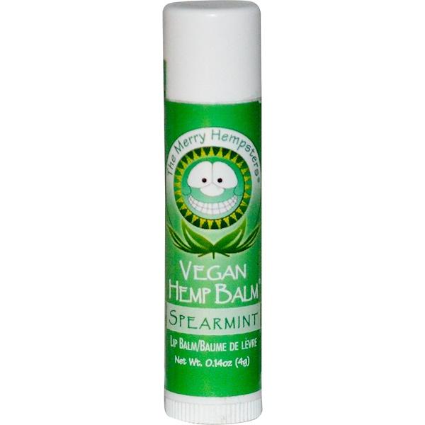 Merry Hempsters, Vegan Hemp Balm, Lip Balm, Spearmint, 0.14 oz (4 g) (Discontinued Item)