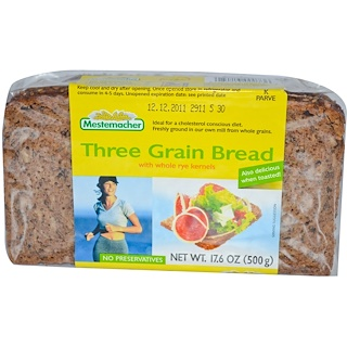 Mestemacher, Three Grain Bread with Whole Rye Kernels, 17.6 oz (500 g)