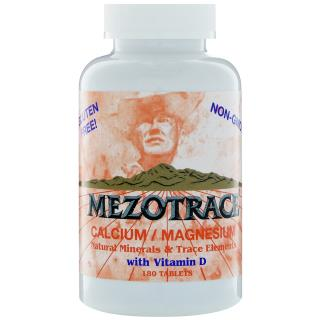 Mezotrace, Calcium/Magnesium, Natural Minerals & Trace Elements with Vitamin D, 180 Tablets