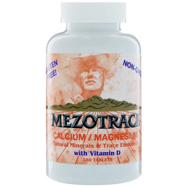 Mezotrace, カルシウム/マグネシウム、ナチュラルミネラル&微量元素・ビタミンD配合、180錠 (Discontinued Item)