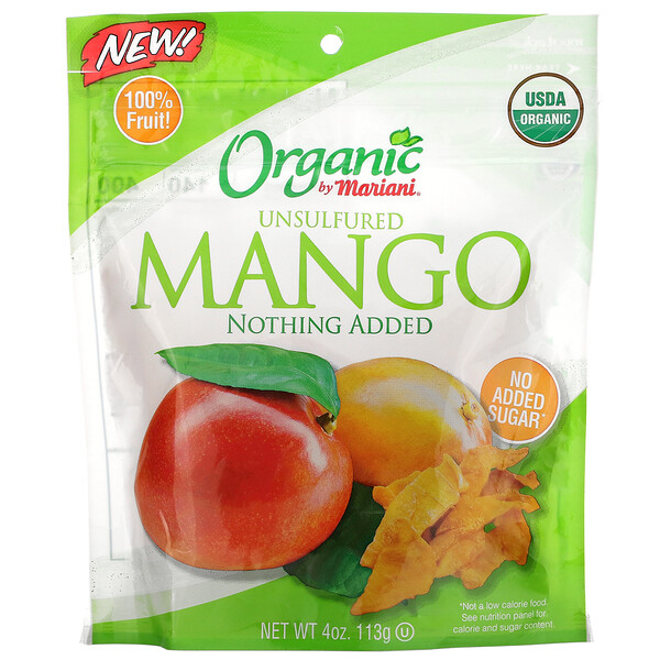 Mariani Dried Fruit, Organic Unsulfured Mango, 4 oz (113 g)