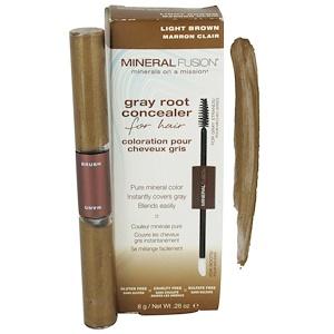 Минерал Фьюжн, Gray Root Concealer for Hair, Light Brown, .28 oz (8 g) отзывы
