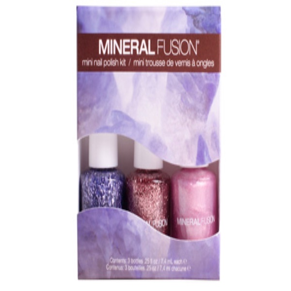 Mineral Fusion, Mini Nail Polish Kit, Shimmering Bling, 3 Bottles, .25 fl oz (7.4 ml) Each (Discontinued Item)