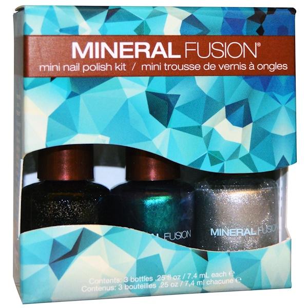 Mineral Fusion, Northern Lights Mini Nail Polish Kit, 3 Bottle Kit, .25 fl oz (7.4 ml) Each (Discontinued Item)